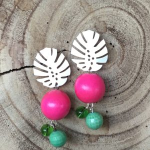 Pendientes-rosa-verde