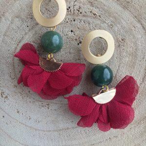 Pendientes-artesanales-verde-granate